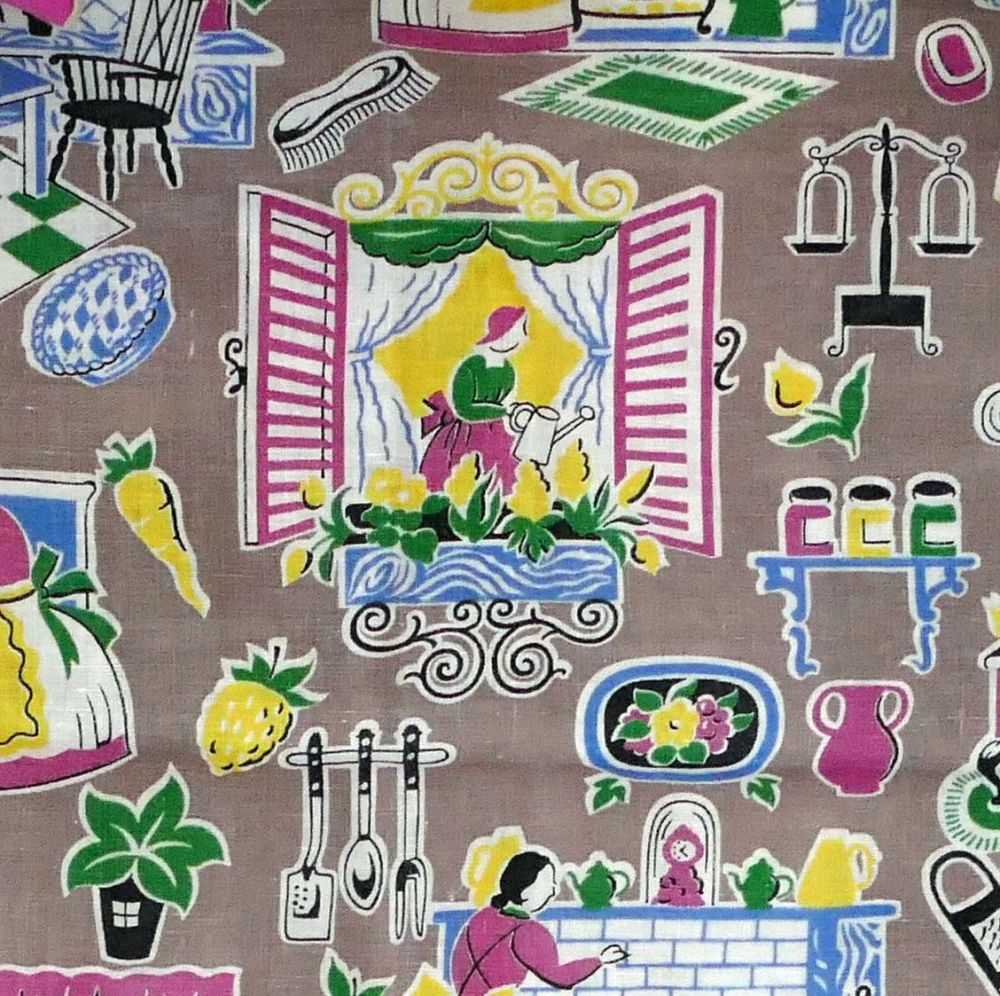 1940's Kitchen Print Fabric - 85cm wide