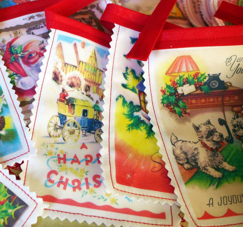 Vintage Christmas Bunting - Cotton - Printed