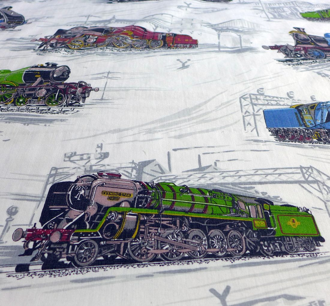 Vintage steam train print fabric for Train print fabric