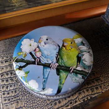 1960's Sharps Toffee Tin with Budgies