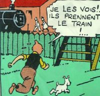 Tintin Cotton Panel - The Black Isle - Tintin Chases the Baddies
