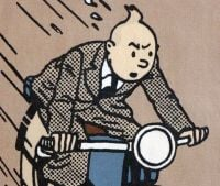 Tintin Fabric Panel - King Ottokar's Sceptre - Tintin on the Motorbike - 23cm x 40cm