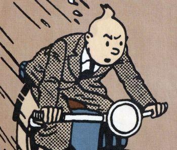 Tintin Fabric Panel - Tintin on the Motorbike - 23cm x 40cm - Blue or Taupe