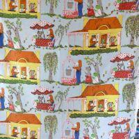 Hector's House Screenprint Fabric - Blue - 60cm x 110cm