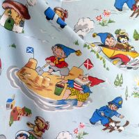 Vintage 1960's Noddy Fabric by Fothergay Blue Cotton - 60cm x 100cm