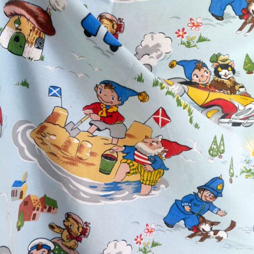 Vintage 1960's Noddy Fabric by Fothergay Blue Cotton