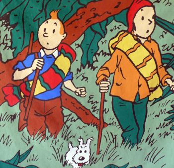 Large Vintage Tintin Fabric Panel - Prisoners of the Sun