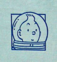 Vintage Tintin Fabric - Destination Moon - Blue - 45cm x 65cm