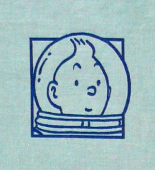 Vintage Tintin Fabric - Destination Moon - Blue - 85cm wide