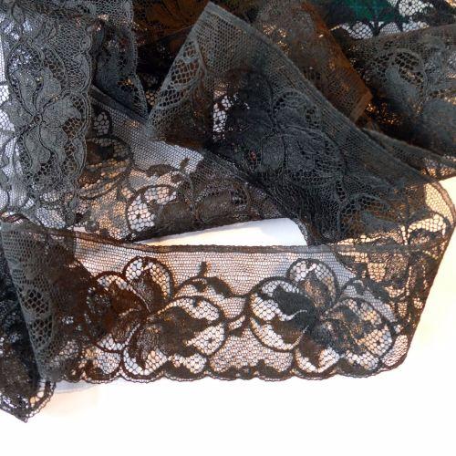 Black Vintage Leavers Lace - BSL
