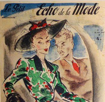 1940's Original French Fashion Print - Car