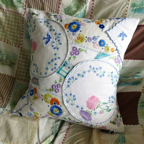 Crazy Patchwork Cushion - Blue Birds