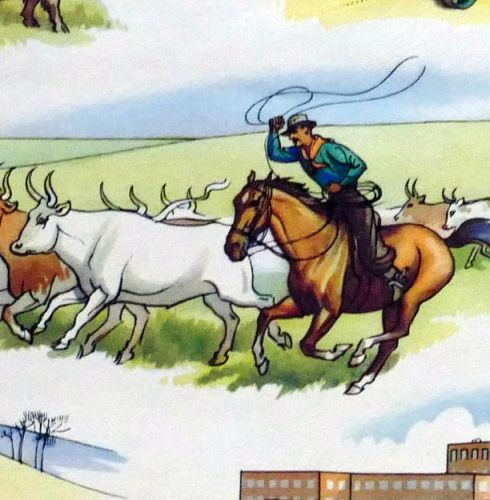 Vintage School Poster - Geography - Temperate Grasslands