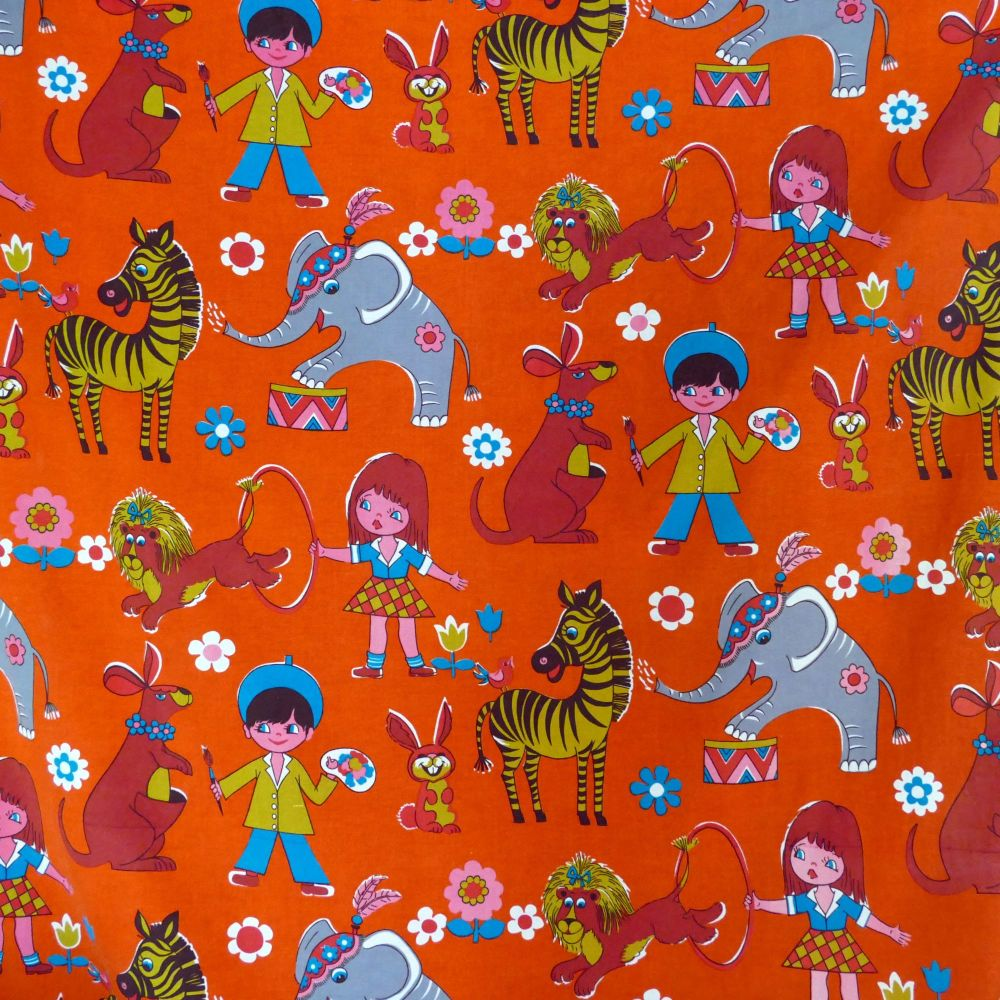 1970's Circus Screen Print Linen - 110cm wide