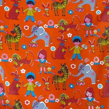 1970's Circus Screen Print Linen - 110cm wide