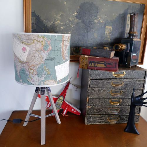 Large Vintage Map Lampshade & Lamp Base - Teal
