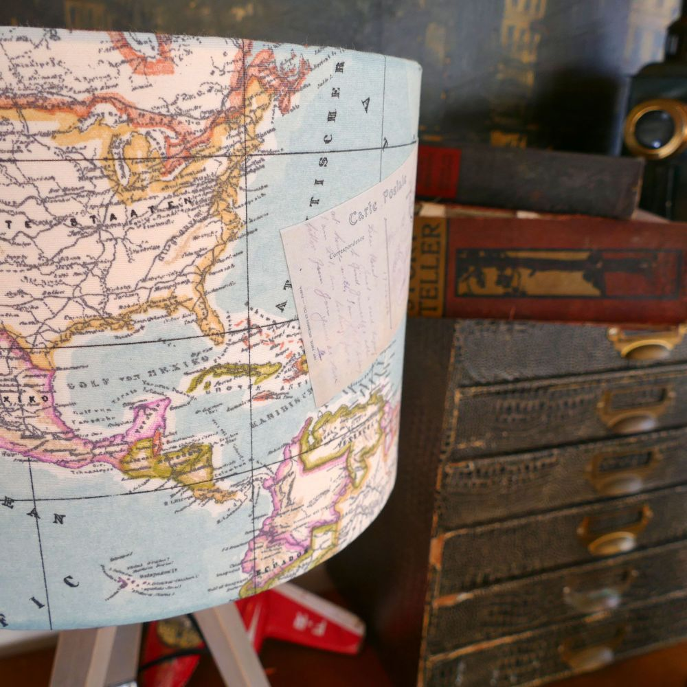 Vintage Map Lampshade & Lamp Base - Pale Blue