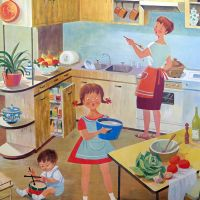 Vintage French School Print - Helen Poirie - Kitchen