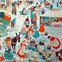 Vintage French School Print - Helen Poirie - The Market