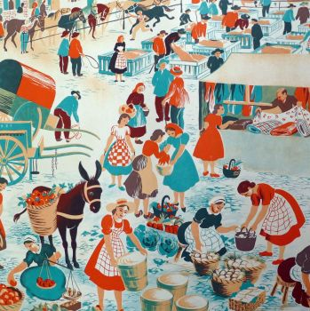 Vintage French School Print - Helen Poirie - The Market