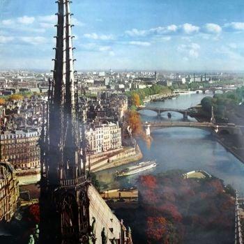 1960's Paris  - Travel Poster - Notre Dame