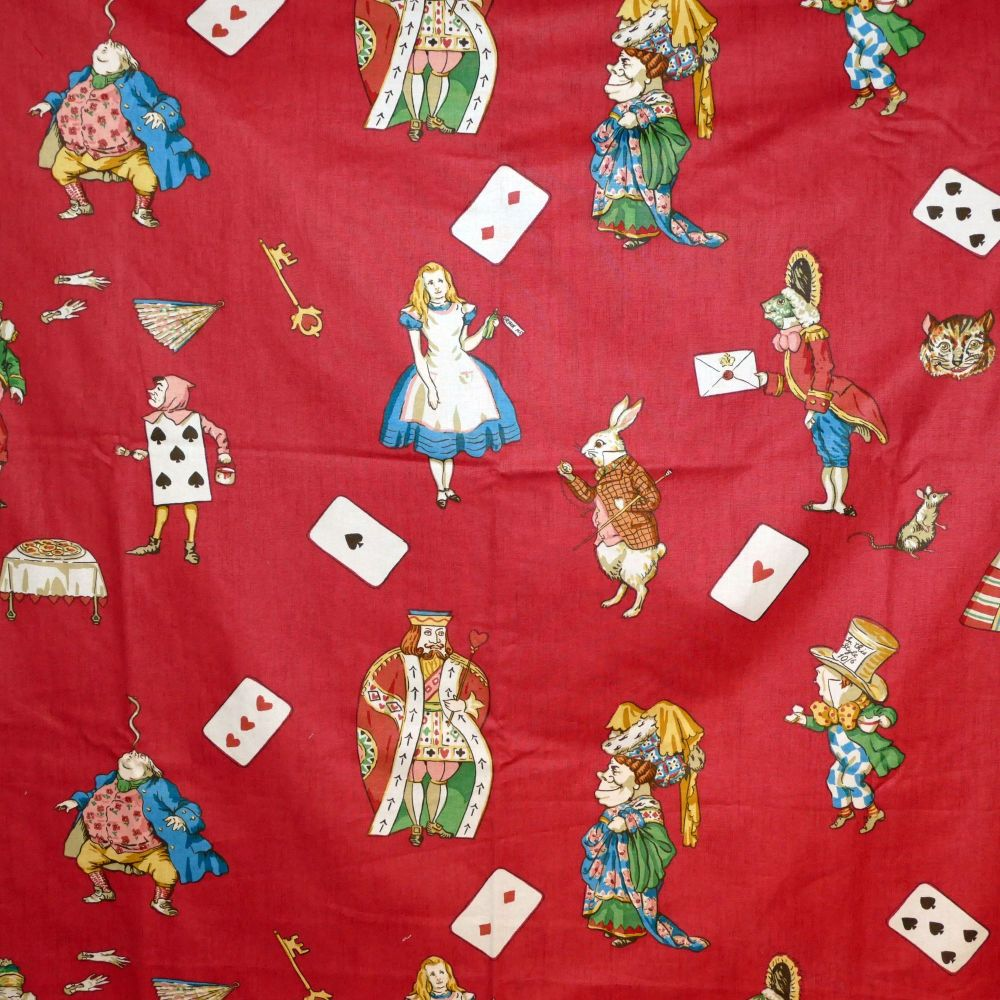 Alice in Wonderland Fabric Red - 125cm x 62cm