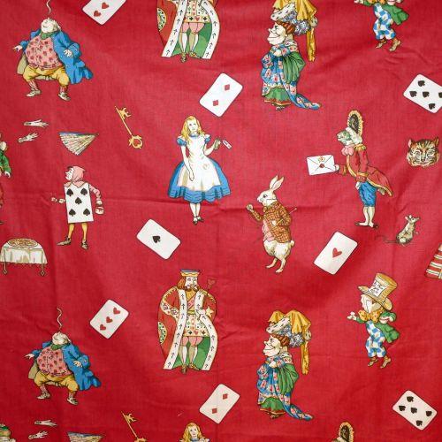 Alice in Wonderland Fabric Red - 125cm x 62cm