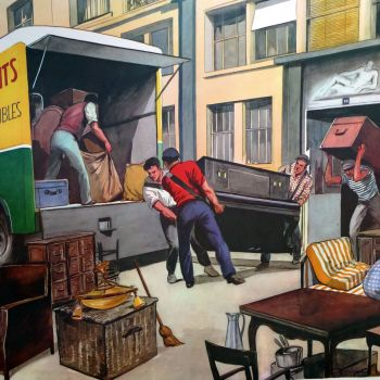 Vintage French Classroom Poster - Moving House/The Farrier
