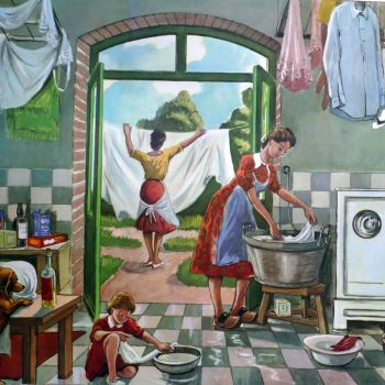 Vintage French Classroom Poster - Wash Day/Car Crash