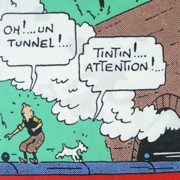 Tintin Cotton Panel - The Black Isle - Tintin Spots the Tunnel