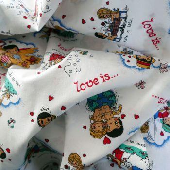 Vintage Seventies Love Is Fabric