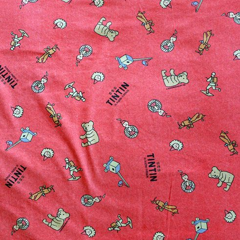 Red Tintin Fabric - 75cm Wide