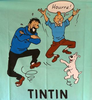 Tintin, Captain Haddock and Snowy Cotton Panel - 114cm wide