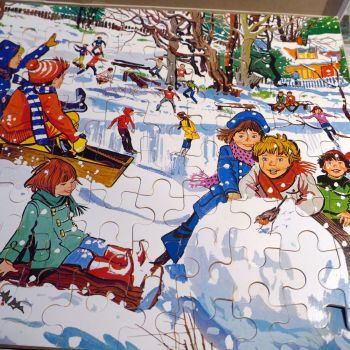 1970's Wooden Jigsaw Puzzle - Winter