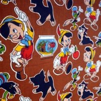 Vintage Screenprinted Linen - Pinocchio - 140cm wide
