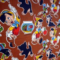 Vintage Pinocchio Fabric - Screenprinted Linen - 140cm wide