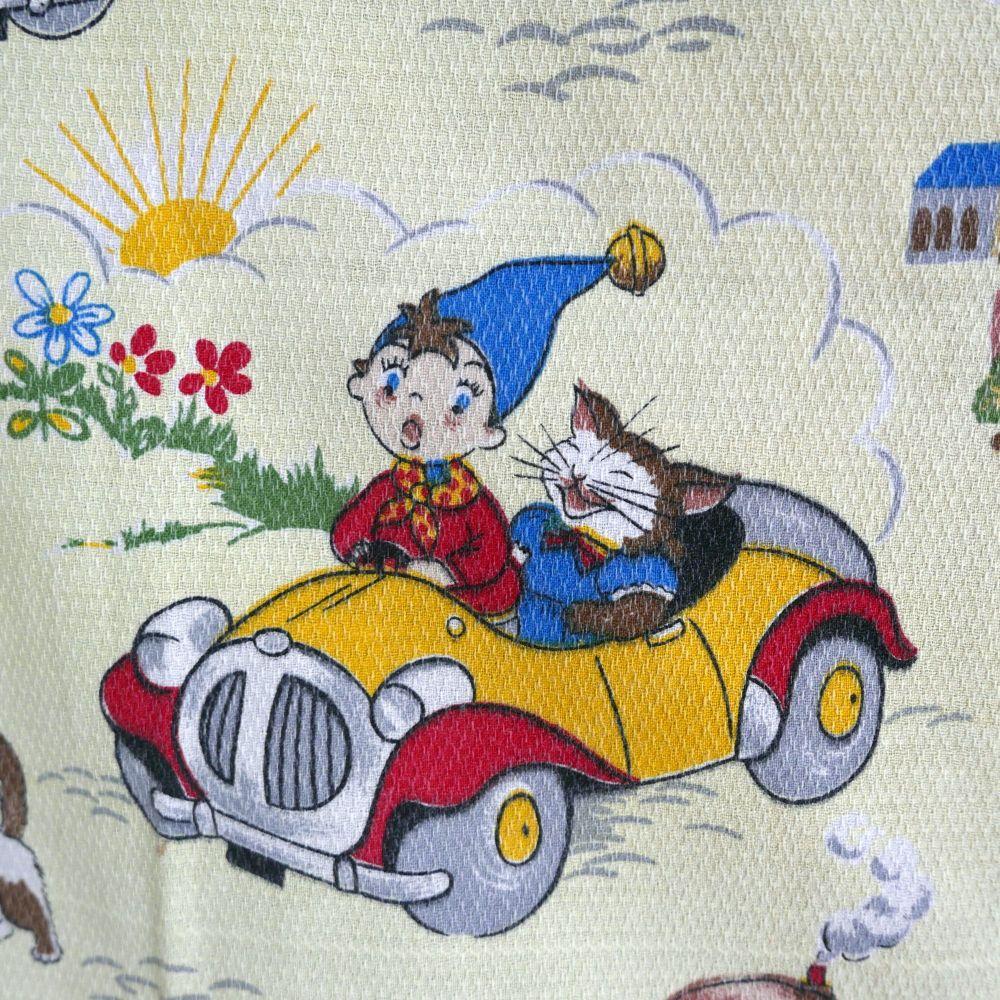Vintage 1960's Noddy Fabric by Fothergay Yellow Barkcloth - 108cm x 75cm