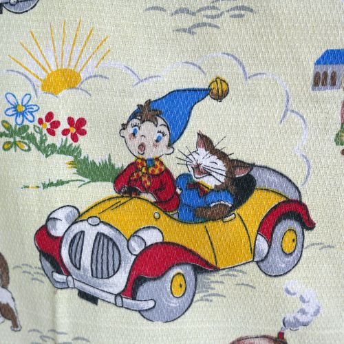 Vintage 1960's Noddy Fabric by Fothergay Yellow Barkcloth - 108cm x 75cm