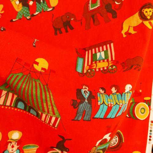 1960's Screen Print Circus Fabric - 115cm x 120cm