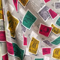 1950's Postage Stamp Barkcloth - 115cm wide
