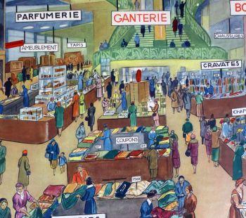 Vintage French Classroom Poster - Le Grand Magasin/Circule en Montagne