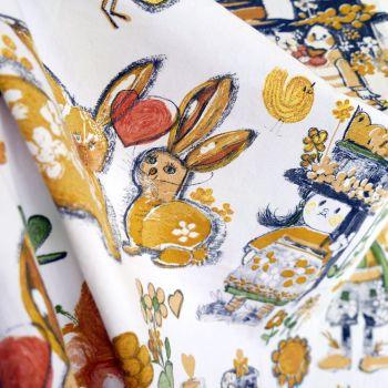 1970's Bunny Rabbits Cotton - 125cm x 80cm