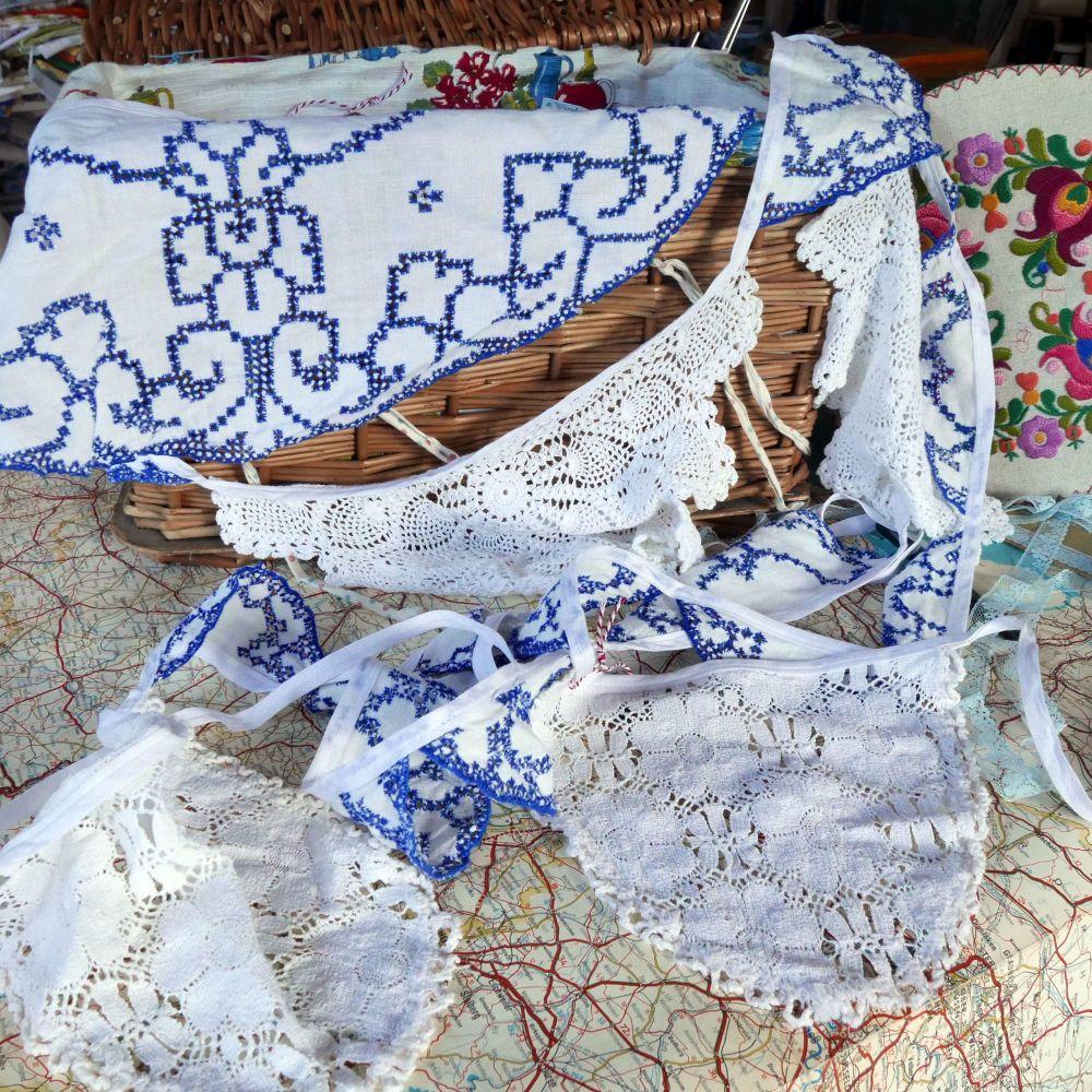 Vintage Doily Bunting - 5 Metres - Blue & White 2
