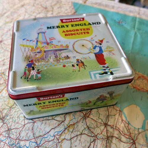 Vintage Burtons Biscuit Tin - Merry England