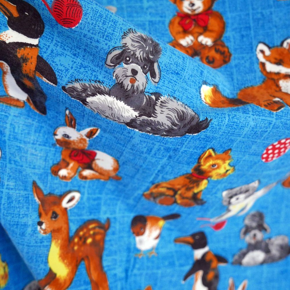1960's Screen Print Linen - Cute Animals - 110cm wide