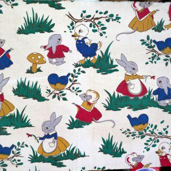 1940's Rabbit Print Linen - 45cm x 40cm