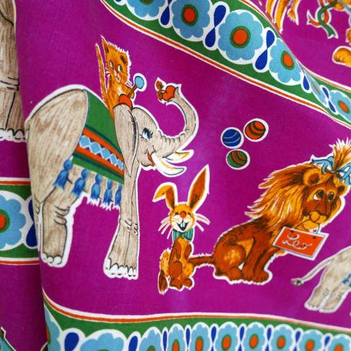 1970's Dekoplus Circus Fabric - 110cm x 115cm