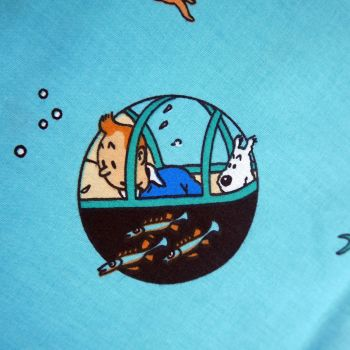 Red Rackham's Treasure - Tintin Fabric - 115cm Wide