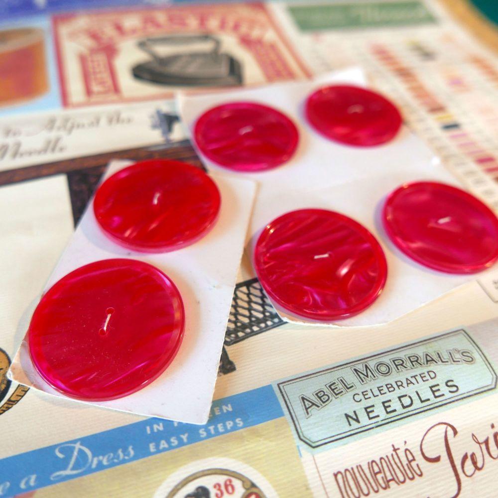 6 Vintage Buttons - Large Pink