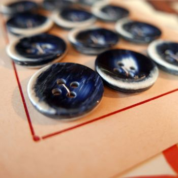 Vintage French Buttons - Blue & White